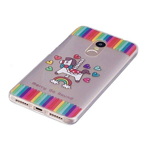 Erdong® Funda de Silicona TPU para Xiaomi Redmi Note 4 5.5, Carcasa Transparente Soft Clear Case Cover Funda Blanda Flexible Carcasa Delgado Ligero Caja Anti Rasguños Anti Choque con Diseño Creativo  Caballo del arco iris