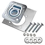 6-pack - Recessed Pan D-ring Trailer Tie Downs (6,000 Lb. Capacity) and Heavy Backer Plates, Including Mounting Hardware (Complete Set: 24 Carriage Bolts, Washers and Nylon Lock Nuts)