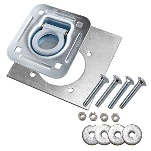 Recessed Tie Downs - 6-pack - Recessed Pan D-ring Trailer Tie Downs (6,000 Lb. Capacity) and Heavy Backer Plates, Including Mounting Hardware (Complete Set: 24 Carriage Bolts, Washers and Nylon Lock Nuts)