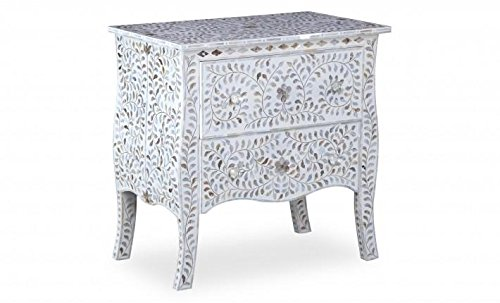 29.5'' X 29.5'' X 17.5'' Mother of Pearl Inlay Wooden Modern Antique Handmade Side Table by Antique Rustic