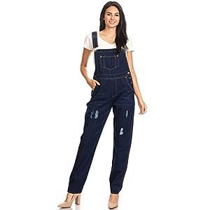 Anna-Kaci Womens Vintage Distressed Denim Skinny Jean Adjustable Strap Overalls