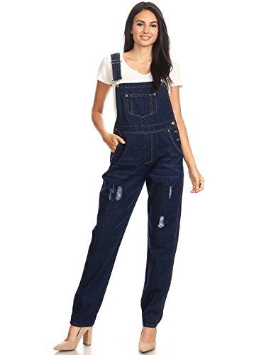 Anna-Kaci Womens Classic Distressed Indigo Denim Long Jean Gardening Overalls,Indigo,Medium ()