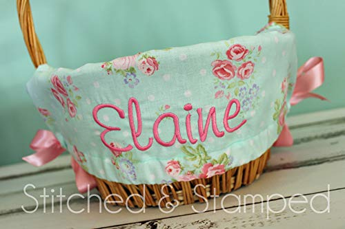 Personalized Easter Basket Liner - Aqua Floral - Personalized with Name]()