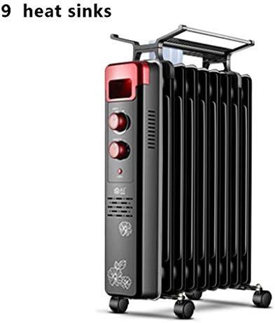 移動式オイル充填式ヒーターは広げられ、厚くなり、加湿器と乾燥ラック、サーモスタット - 黒色 (サイズ さいず : 9 heat sinks)