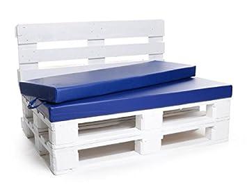 PadsForAll palé Cojín Muebles de Jardín, Asiento para Banco, colchón Cojines también M. Respaldo o - Cojín en Piel sintética Azul, Impermeable y Resistente.