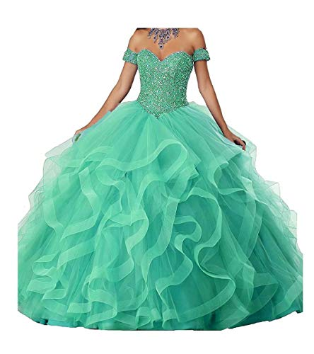 FJMM Womens' Ball Gown Crystals Quinceanera Dress Sweetheart Prom Gowns for Party Ruffles Prom Dresses
