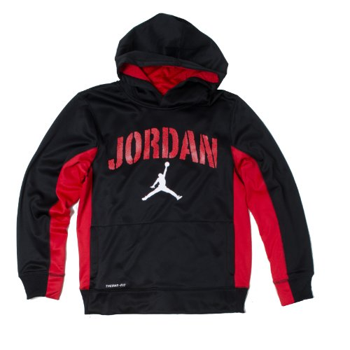 Jordan Flight Pullover Therma Fit Boys'youth Hoodie (Black/Red, XL(13-15YRS))