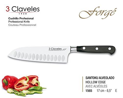 3 Claveles 01565 Cuchillo Profesional Gama Forgé (17 cm 6.5, Santoku)
