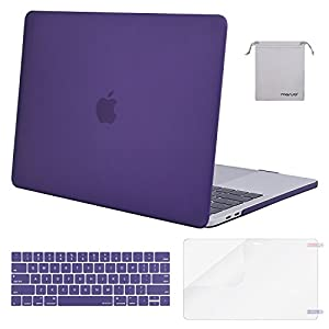 Mosiso MacBook Pro 13 Case 2017 & 2016 Release A1706/A1708, Plastic Hard Case Shell with Keyboard Cover with Screen Protector with Storage Bag for Newest MacBook Pro 13 Inch, Ultra Violet
