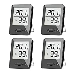 Sxcd 4 Pack Digital Hygrometer Indoor Thermometer Humidity Gauge Indicator Room Thermometer Accurate Temperature Humidity Monitor Meter For Home Office Greenhouse Mini Hygrometer
