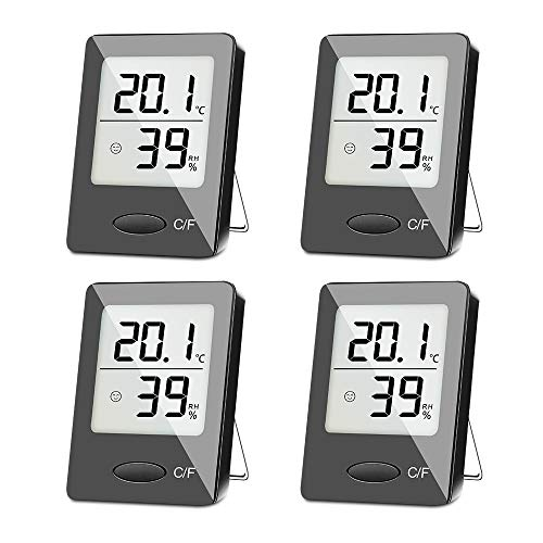 SXCD 4 Pack Digital Hygrometer Indoor Thermometer, Humidity Gauge Indicator Room Thermometer, Accurate Temperature Humidity Monitor Meter for Home, Office, Greenhouse, Mini Hygrometer