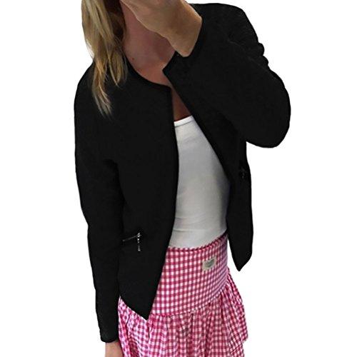 Outerwear Giubbotto Moda Donna La Zip Giacche Tasca Casual Elegante E Con Party Autunno Manica Classico Blazer Nero Cappotto Vintage Corta Invernali Lunga Giacca Diamante fTUAwxBA