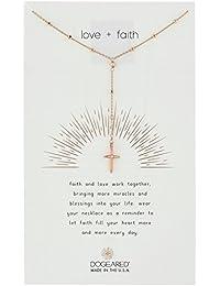 """Love + Faith, Cross Rosary Chain Necklace, 16"""" +2"""" Extender"""