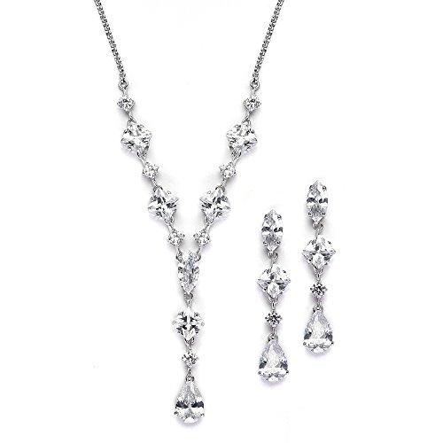 Mariell Glamorous Zirconia Necklace Earrings