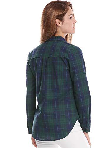 Revers Basic Blouse Haut Elgante Tops Boutonnage Printemps Fashion Vetement Casual Shirt Automne Classique Carreaux Office Femme Asymtrique Chemise Manches Vert Simple Vintage Longues ccUp8TWv