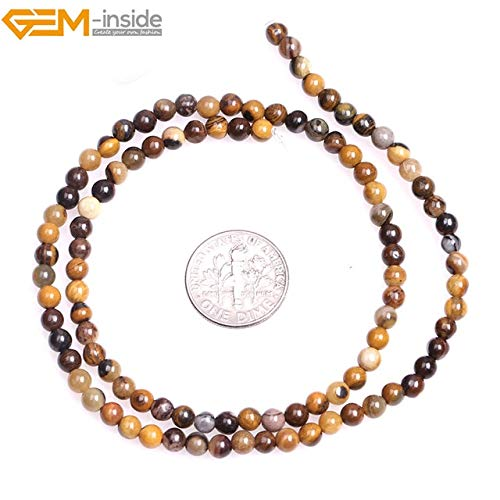 Calvas 4mm Natural Round Brown Semi Precious Iron Zebra Jaspers Beads for Jewelry Making Beads 15'' DIY Beads Bracelets Gift - (Color: 4mm)