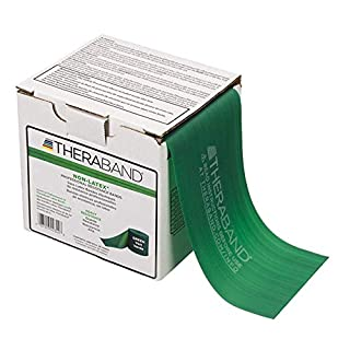 TheraBand Resistance Band 25 Yard Roll, Heavy Green Non-Latex Professional Elastic Bands For Upper & Lower Body Exercise Workouts, Physical Therapy, Pilates, Rehab, Dispenser Box, Intermediate Level 1