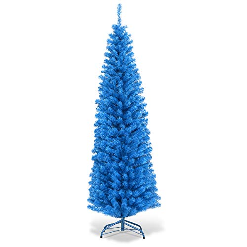 Goplus 6ft Blue Pencil Christmas Tree, Artificial Slim Tree, Xmas Decor for Indoor and Outdoor (Christmas Red Turquoise)