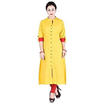 d3f9c856530 VAIDIKI Plain Yellow Colour Designer Front Slit Long Kurta Formal wear  Kurti Collection For Ladies  Amazon.in  Clothing   Accessories