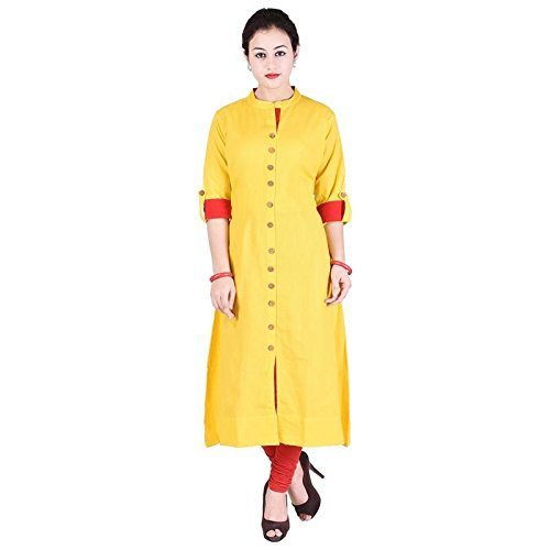 f11279cd6 VAIDIKI Plain Yellow Colour Designer Front Slit Long Kurta New ...