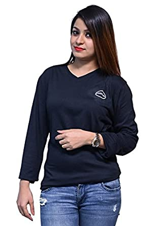 6fc7a10b BADGE Girls and Women Solid Navy Blue T-Shirt: Amazon.in: Clothing ...