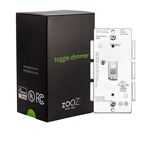 Price comparison product image Zooz Z-Wave Plus Toggle Dimmer Light Switch ZEN24 VER 2.0 (White), Works with Existing Mechanical 3-Way Switch