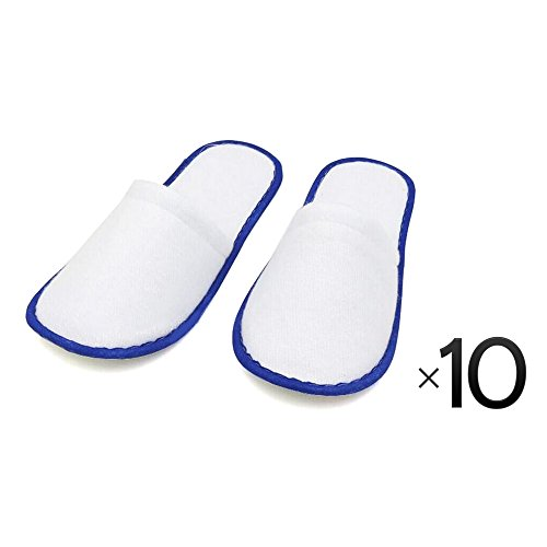 Disposable Cotton Slipper Slippers Salon Spa Hotel Pedicure Closed Toes 10 Pairs - Blue by Project E Beauty