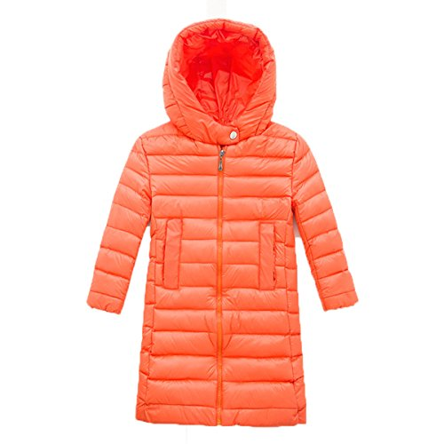 Chic Hooded Coat Long Outwear Down EkarLam® Children Plain Orange Jacket Kids Zip EwXXaqC