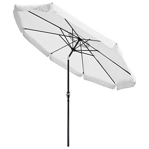 Yescom 10 ft Aluminum Outdoor Patio Umbrella w/Valance Crank Tilt for Deck Market Yard Beach Pool Cafe White