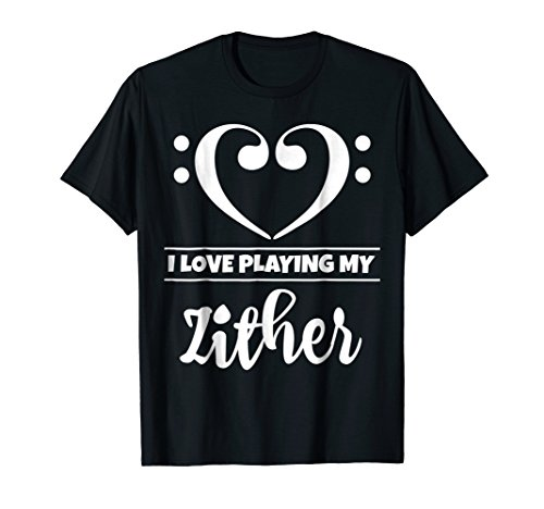Double Bass Clef Heart I Love Playing My Zither Music Lover T-Shirt