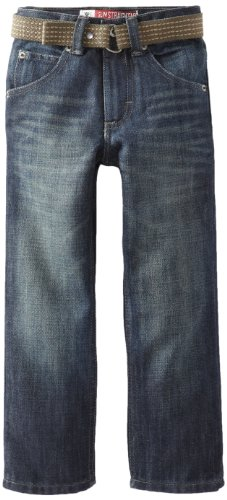 (Lee Little Boys' Dungarees Belted Straight Leg Jeans, Relic, 7/Regular)