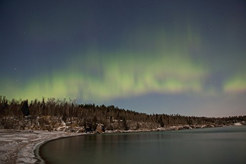 Northern Lights Aurora Borealis Over Lake Superior Thunder Bay Ontario Canada Poster Print  38 X 24