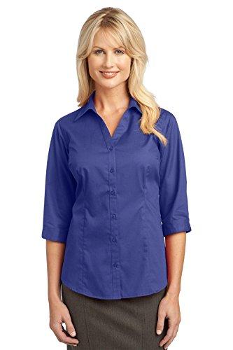 Mejorado Autoridad Portuaria Ladies 3/4-sleeve Blusa.–Mediterráneo azul–S