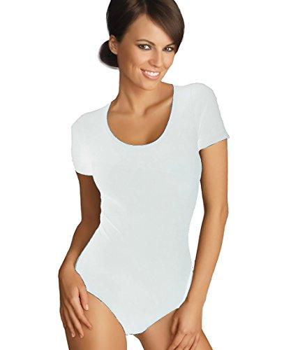 Gatta Body T-Shirt - eleganter kurzarm Body mit tiefem Rundhals Ausschnitt hoher Tragekomfort ohne Seitennähte Weiß