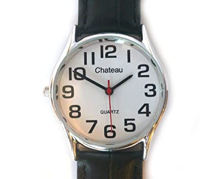 LEFT HANDED GENTS WATCH RARE SILVER TONE EASY TO READ ARABIC NUMBERS WATCH