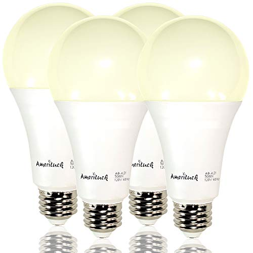 AmeriLuck 2700K Soft White 3-Way LED Light Bulb A21, 50-100-150W Equivalent, Omni-Directional, UL Listed (4 Pack)