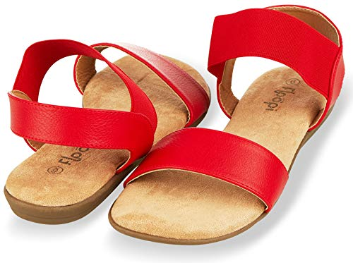 (Floopi Sandals for Women | Cute, Open Toe, Wide Elastic Design, Summer Sandals| Comfy, Faux Leather Ankle Straps W/Flat Sole, Memory Foam Insole| (9, Red-514))