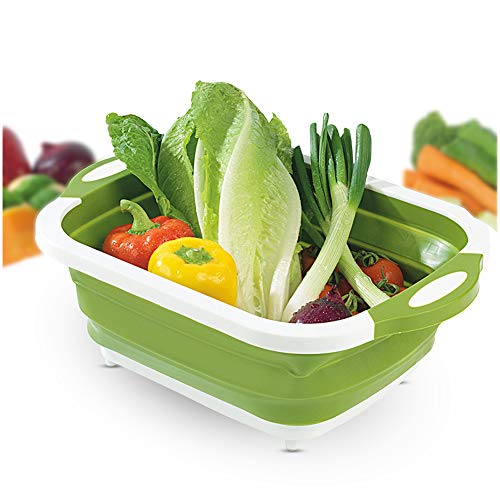 4-in-1 Folding Cutting Board With Basket,Multi-board Kitchen Foldable Cutting Board Fruit Vegetables Washing Drain Sink Storage Basket (2 pcs, Green)