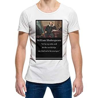 William Shakespeare White Round Neck T-Shirt For Unisex