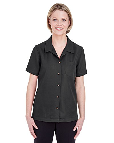 UltraClub Ladies' Cabana Breeze Camp Shirt (Black) (X-Large)