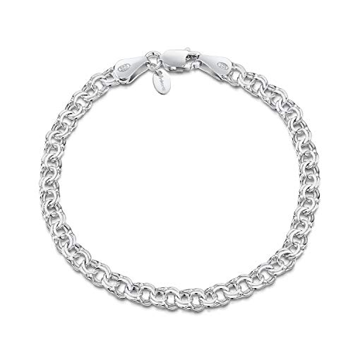 "Amberta 925 Sterling Silver 4.5 mm Chunky Double Curb Chain Bracelet Length 8"" inch / 20 cm (8)"