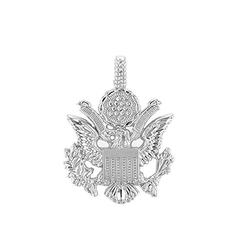 United States Great Seal in 14k White Gold Pendant Necklace, 20'' by American Heroes (Image #1)