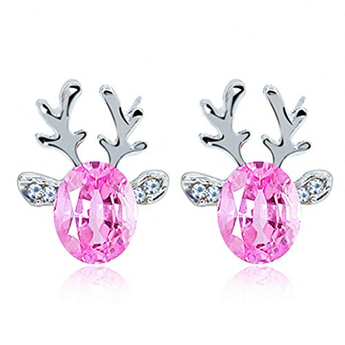 YOMXL Christmas Reindeer Stud Earrings,1Pair Crystal Gemstone Cute Elk Earrings Ear Stud for Women & Girl ()