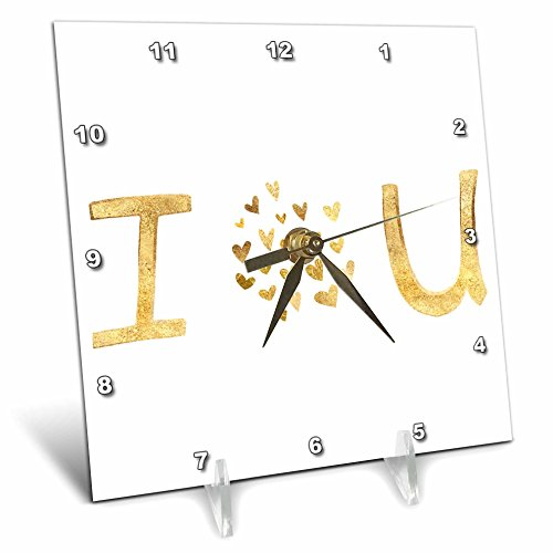 3dRose PS Inspiration - Gold I Love You Hearts - 6x6 Desk Clock (dc_280746_1) by 3dRose