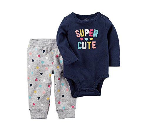 Super Girl Outfit (Carter's Baby Girls' 2 Piece Super Cute Bodysuit Pants Set 3 Months)