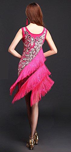 Stile Di A Costume Rosa Gatsby Tema Danza Bling Flapper Frangia Grande 20s Whitewed qRUpf0