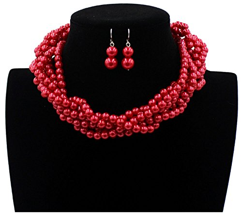 Shineland Twisted Multilayer Strand Faux Pearls Beads Cluster Choker Necklace And Earrings Set (Red)