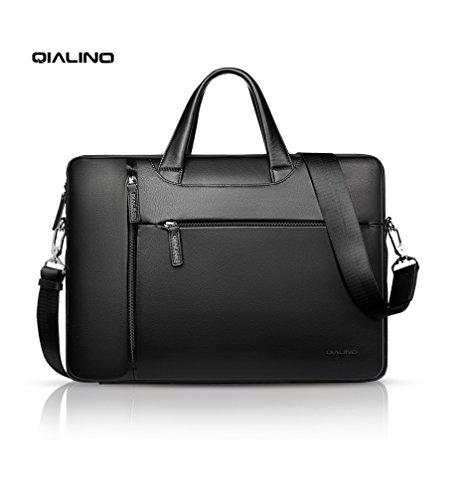 15 inch Laptop Bag, QIALINO Water-proof Genuine Leather Briefcase Carrying Case/Shoulder Bag for 15