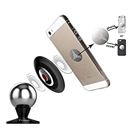 DOUBLE Magnetic Dashboard Mount Kit By Fosman® - Cell Phone Dashboard Car Mount Holder for Cell Phones Tablets iPhone 6 6S SE 5 5S 5C Plus Samsung Galaxy LG HTC Nokia MOTO Nexus 5x 6P GPS (Black)