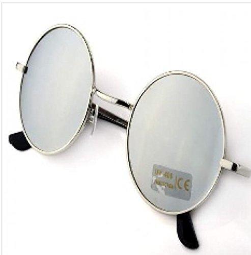 Men's Women's Hippie Shades Hippy 60S John Lennon Style Vintage Round Peace Sunglasses (Silver)